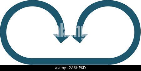 Cercle connecté deux flèches opposées. Peut être utilisé pour la signalisation routière ou le logo. Stock Vector illustration isolé sur fond blanc. Banque D'Images