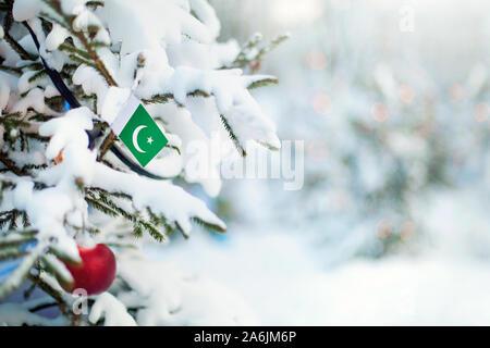 Le Pakistan Noël. Arbre de Noël couvert de neige, des décorations et un drapeau. Contexte La forêt enneigée en hiver. Carte de vœux de Noël.