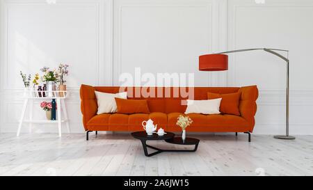 Design intérieur moderne d'un salon à l'intérieur appartement, maison, bureau, canapé orange vif, des fleurs fraîches et un intérieur moderne de détails sur un mur blanc