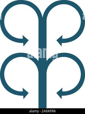 Cercle connecté quatre flèches opposées. Stock Vector illustration isolé sur fond blanc. Banque D'Images