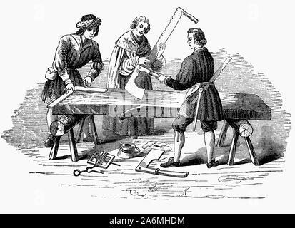 16e siècle les charpentiers au travail. Avant de pouvoir les scieries et la production de bois d'entreprise, une grande partie de l'atelier du menuisier, temps du projet a été rempli avec le simple fait de rendre les arbres dans les commissions scolaires. Menuisiers travaillaient généralement 6 jours par semaine, 12 heures par jour en été, au moins 8 heures en hiver. La plupart de ceux impliqués dans les métiers du bâtiment ont été payé un salaire quotidien ou à la pièce, le salaire un peu plus élevé à Londres et une proportion substantielle d'un menuisier de la richesse pourrait être représenté par ses outils et son stock de bois. Banque D'Images