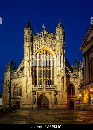L'Abbaye de Bath, une église paroissiale de l'Église d'Angleterre et de l'ancien monastère bénédictin à Bath, Somerset, Angleterre. Banque D'Images