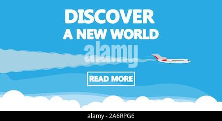 Découvrez un monde nouveau concept fond d'illustration vectorielle, avion. Voyages de vacances affaires bannière. Aventure voyage mondial modèle. Caricature d'été Banque D'Images