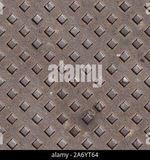 Seamless texture de métal rouillé avec plaque de plancher modèle frappé. Pise. L'Italie. Banque D'Images