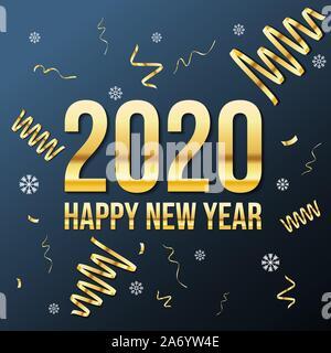 Vecteur d'or texte de luxe 2020 bonne année. Numéros de fête or Design. Parti d'or et ruban brillant étoiles new year party Banque D'Images