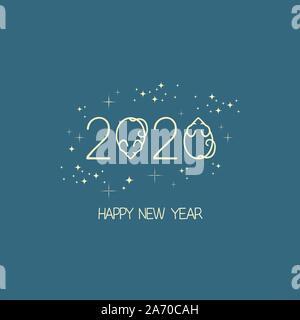 Nouveau logo pour l'année 2020 Année du rat, rat ou souris stylisée avec icône, vector illustration télévision pour Noël et Nouvel An, cartes et dépliants Banque D'Images