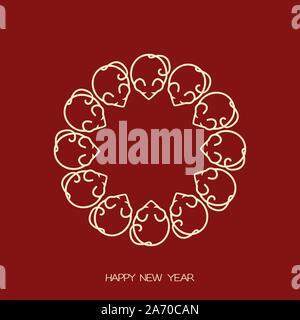 Cadre de la souris stylisée de symboles nouveaux chinois 2020 année du rat, vecteur télévision illustration pour noël et nouvel an cartes postales, dépliants et bannières de Banque D'Images