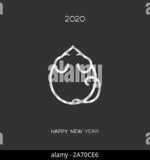 Rat ou souris argent stylisé de l'icône de l'année chinoise du rat, nouvel an 2020, Vector logo télévision illustration pour noël et nouvel an cartes postales, dépliants un Banque D'Images