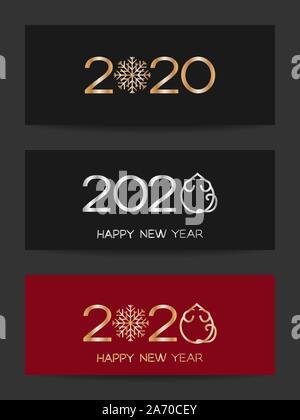 Nouvelle année 2020 collection de bannières pour l'année chinoise du rat, rat ou souris stylisée avec icône et flocon, télévision vecteur illustration pour Noël et Banque D'Images