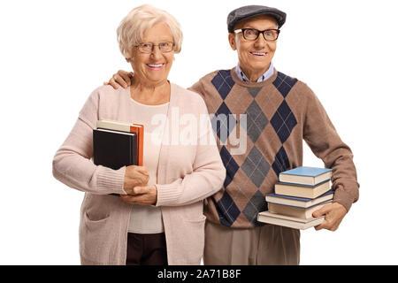 Une femme et un homme âgés avec books isolé sur fond blanc Banque D'Images