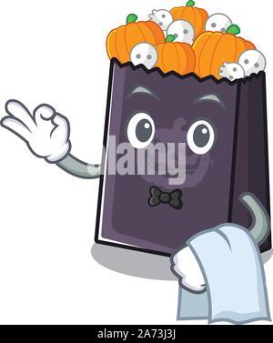 Serveur dans le sac d'halloween un cartoon Banque D'Images