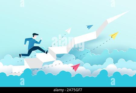 Un homme est de sauter sur l'escalier, Étapes vers le succès. La conception des idées d'affaires en EPS10 vector illustration. Banque D'Images