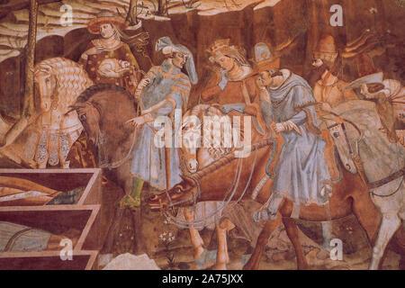 Détail de fresque italienne 'Triomphe de la mort', 'Jugement Dernier' par Buonamico Buffalmacco, 1336-1341, rénové à l'intérieur de la fresque Campo Santo, Pise Itali Banque D'Images