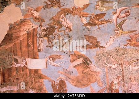 """Détail de la peinture de """"triomphe de la mort', Buonamico Buffalmacco par jugement dernier, rénové à l'intérieur du plein air, Campo Santo, Pise, cimetière. Camposanto Banque D'Images"""