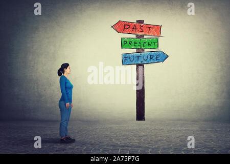 Vue latérale du jeune femme debout devant un panneau avec des flèches montre passé, présent et futur. Perdu dans le temps pittoresque route signe, destin evolutio Banque D'Images