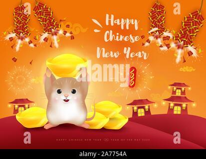 Bonne année 2020. Le Nouvel An chinois. L'année du rat. Traduction: Joyeux Nouvel An chinois. Banque D'Images