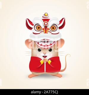 Petit Rat ou souris effectue le Nouvel An Chinois Danse du lion avec 2020 Joyeux Nouvel An chinois faire défiler. Isolées. Banque D'Images