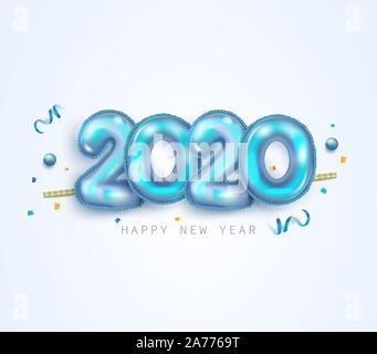 Bonne année 2020. Numéros de feuille métallique d'or 2020. 3D réaliste signe, Confetti et chiffon doux. Bannière de fête10 EPS vector illustration. Banque D'Images
