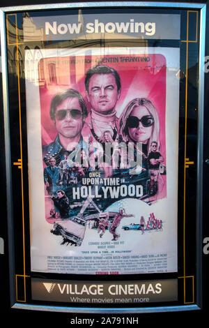 Il était une fois à Hollywood affiche de film avec Brad Pitt, Leonardo Di Caprio et Margot Robbie