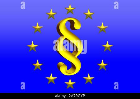 Illustration 3D paragraphe d'or Signer avec Star cercle sur fond bleu