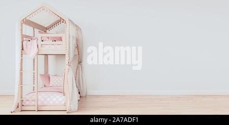Maquette horizontale dans l'affiche de l'espace libre sur le côté droit, lits avec literie rose pur style scandinave, rendu 3D, 3D, illustrati Banque D'Images