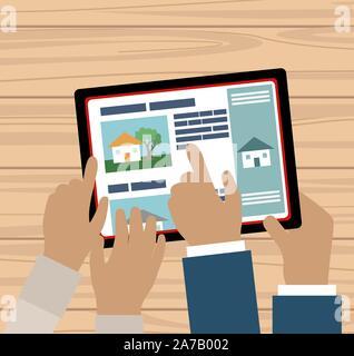 Deux mains à la recherche d'une tablette maison à vendre en ligne - vector regroupés et facile à éditer Banque D'Images