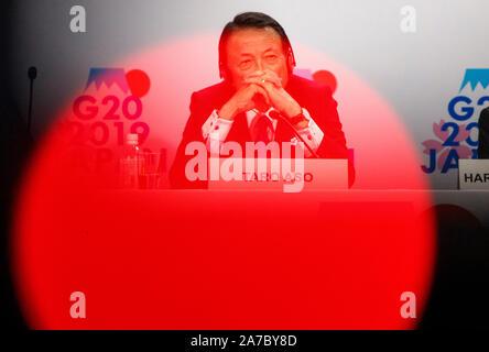 Beijing, USA. 18 Oct, 2019. Le ministre des Finances japonais, Taro Aso, assiste à une conférence de presse à l'occasion des réunions annuelles du Fonds Monétaire International et la Banque mondiale à Washington, DC, États-Unis, le 18 octobre 2019. Credit: Ting Shen/Xinhua/Alamy Live News Banque D'Images