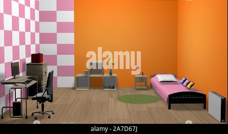 Fille 3d chambre avec lit, table, chaise et autres meubles Banque D'Images