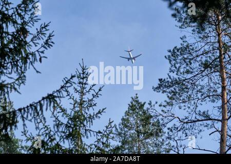 Nuremberg, Allemagne - 30 octobre 2019: un avion de passagers vu d'en bas tout en volant dans un beau ciel bleu ensoleillé avec arbre d'automne au-dessus de Banque D'Images
