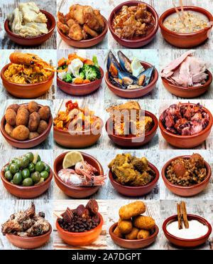 Collage d'une cuisine typiquement espagnole Banque D'Images