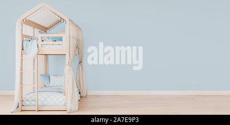Maquette horizontale dans l'affiche de l'espace libre sur le côté droit, lits avec literie de bébé bleu, scandinave, rendu 3D, 3D illustratio Banque D'Images