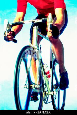 Un portrait Portrait d'un cycliste sur un vélo de course.