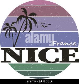 Nice France Travel Stamp Skyline Icône Design ville Tourisme