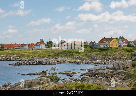 Petit village de Svaneke sur l''île de Bornholm au Danemark. Banque D'Images