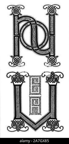 Les initiales H et V à partir de la seconde Bible de Charles le Chauve, manuscrit, après 865, Carlovingian. Alphabets et monogrammes. Banque D'Images