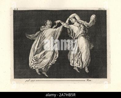 """Peinture enlevée d'un mur d'une pièce, peut-être un triclinium ou salle à manger, dans une maison de Pompéi en 1749. Il montre deux danseuses en robes transparente fine de vert et jaune, élégamment danser ensemble toucher pouce et l'index. Gravée sur cuivre par Tommaso Piroli à partir de son propre 'Antichita di Ercolano"""" (antiquités d'Herculanum), Rome, 1789. L'artiste italien et graveur Piroli (1752-1824) a publié six volumes entre 1789 et 1807 documentation les peintures murales et des bronzes trouvés dans Heraculaneum et Pompéi."""