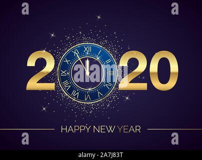 Horloge dorée cadran avec chiffres 2020 sur fond de Noël magique. Compte à rebours de la nouvelle année et les carillons. Cinq minutes avant de douze modèle pour votre conception Banque D'Images