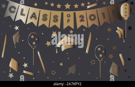 L'obtention du diplôme dans l'or de l'affiche sur le pourpre. Vector Illustration Banque D'Images