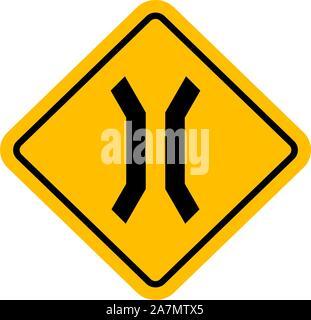 Panneau de circulation pont étroit vector illustration.symbole d'avertissement jaune. Parfait pour les milieux, Autocollant et étiquette.