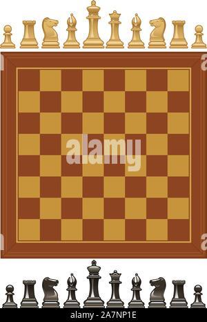 Vecteur Ensemble de pièces d'échecs et de conseil. Banque D'Images