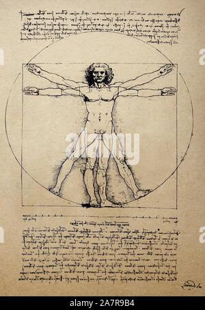 L'homme de Vitruve de Léonard de Vinci Gallerie dellAccademia de Venise, Italie. Vieux papier fond Banque D'Images
