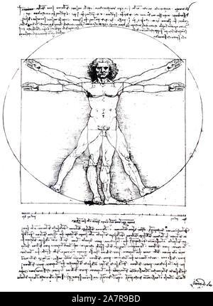 L'homme de Vitruve de Léonard de Vinci Gallerie dellAccademia de Venise, Italie. Plus isolé sur fond blanc Banque D'Images