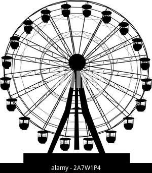 Atraktsion Silhouette grande roue colorée sur fond blanc illustration. Banque D'Images