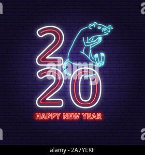 2020 bonne année en néon avec rat. Vector Illustration. Pour l'année 2020 Nouveau modèle de conception carte de voeux, flyer, affiche, bannière ou un gabarit. Enseigne au néon de rat pour la bannière ou annonce. Banque D'Images