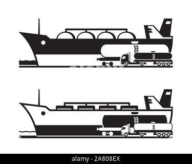 Le transport du pétrole et du gaz par la terre et l'eau - vector illustration Banque D'Images