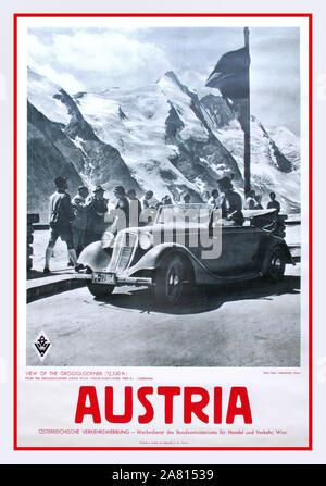 Vintage Original 1930, l'Autriche affiche Voyage Vue sur le Grossglockner, Vintage Trafic autrichien Advertisment, WIEN Banque D'Images
