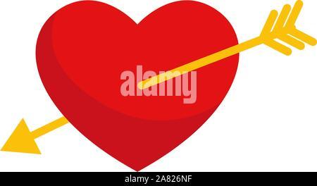 Coeur transpercé, illustration, vecteur sur fond blanc. Banque D'Images