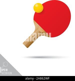 Tennis de table de style lisse et paddle ball icône. Appareils de sport vector illustration. Banque D'Images