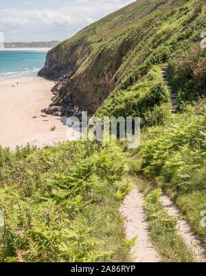 Chemin de la côte balade entre St Ives et Hayle, Cornwall dans l'été.