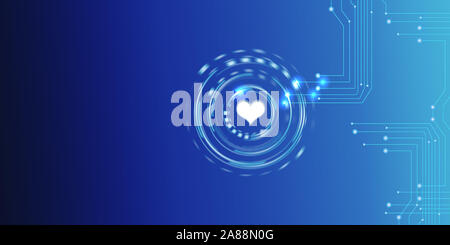 Symbole coeur brille dans un hud interface avec electirical les circuits. Affaires, finances, de la technologie et de l'argent plus de concepts électroniques futuristes circ